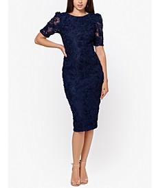 Puff-Lace-Sleeve Sheath Dress