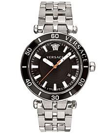 Men's Swiss Greca Sport Stainless Steel Bracelet Watch 43mm