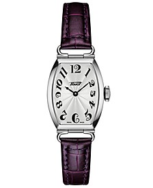 Women's Swiss Heritage Porto Purple Leather Strap Watch 22x30mm
