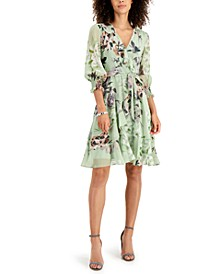 Petite Ruffled Faux-Wrap Dress
