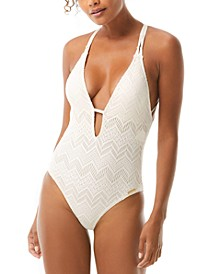 Crochet Plunging V-Neck One-Piece Swimsuit