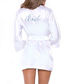 Women's Lux Embroidered Bridal Satin Robe