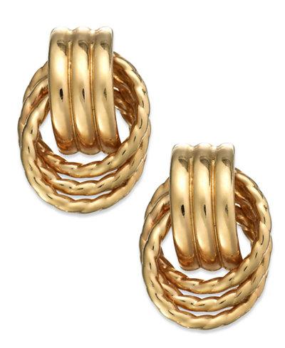 14k Gold Door Knocker Earrings
