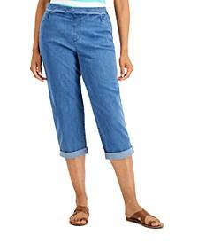 Petite Denim Pull-On Capri Pants, Created for Macy's
