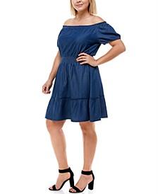 Trendy Plus Size Cotton Denim Off-The-Shoulder Dress