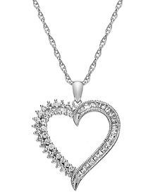 Sterling Silver Diamond Heart Pendant Necklace (1/4 ct. t.w.)