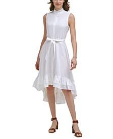 Cotton Ruffled Mock-Neck Midi Dress