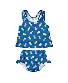 Baby Girls Two-Piece Ruffle Tankini with Built-in Snap Reusable Swimsuit Diaper
