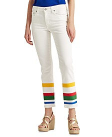 Petite Striped Mid-Rise Jeans