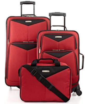 Travel Select Bay Front 3 Piece Spinner Luggage Set - Red