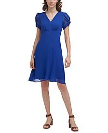 Solid V-Neck Chiffon Dress