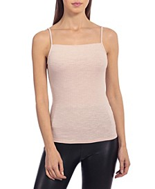 Women's Square Neck Rib Knit Camisole Tank Top