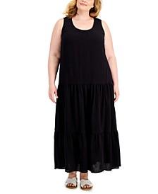 Plus Size Textured Cotton Maxi Dress