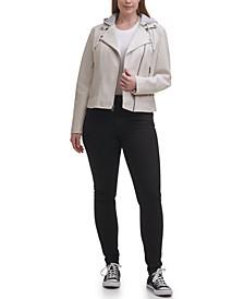 Plus Size Trendy Hooded Faux Leather Moto Jacket