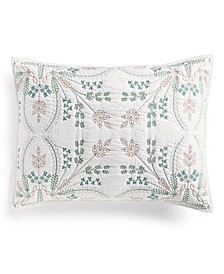 Embroidered Tile 100% Cotton Sham, Created for Macy's