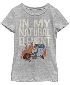 Big Girls Frozen 2 Salamander Woodcut Short Sleeve T-shirt
