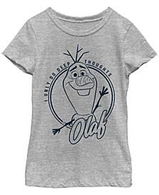 Big Girls Frozen 2 Deep Thought Olaf Short Sleeve T-shirt