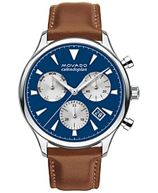 Men's Swiss Chronograph Heritage Series Calendoplan Cognac Brown Leather Strap Watch 43mm