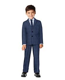 Toddler Boys Stretch Textured Plaid Suit Set, 4-piece Set