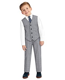 Little Boys Glen Plaid Vest, 4-piece Set