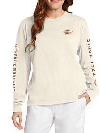 Juniors' Graphic-Print Long-Sleeve Cotton T-Shirt