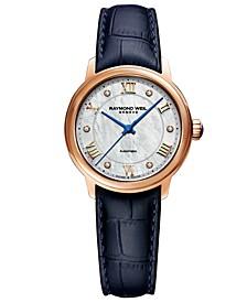 Women's Swiss Automatic Maestro Diamond Accent Blue Leather Strap Watch 31mm