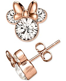 Cubic Zirconia Minnie Mouse Stud Earrings in 18k Rose Gold-Plated Sterling Silver
