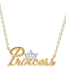 "Cubic Zirconia Princess Tiara 18"" Pendant Necklace in 18k Gold Over Silver"