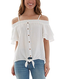 Juniors' Cotton Off-The-Shoulder Ruffle-Sleeve Top