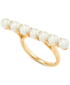 Cultured Freshwater Pearl (4-1/2-5mm) Horizontal Bar Statement Ring in 14k Gold