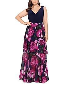 Plus Size V-Neck Tiered Gown