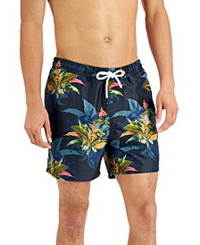"""INC Men's Regular-Fit Quick-Dry Tropical Floral-Print 5"""" Swim Trunks, Created for Macy's"""