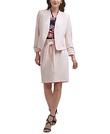 Open-Front Jacket, Printed Blouse & Tie-Waist Skirt