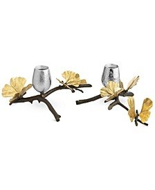 Butterfly Ginkgo Set of 2 Candle Holders