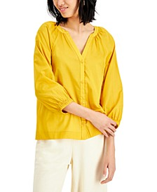 Petite Cotton Y-Neck Top, Created for Macy's