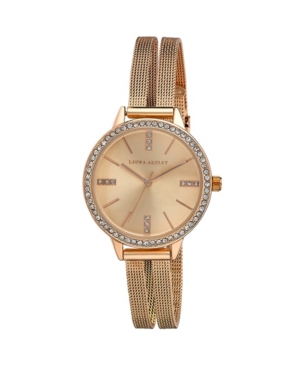 Women's Sunray Dial Crystal Rose Gold-Tone Alloy Split Mesh Band Watch 33mm