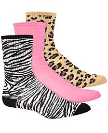 Women's 3pk Animal-Print Crew Socks, Created for Macy's