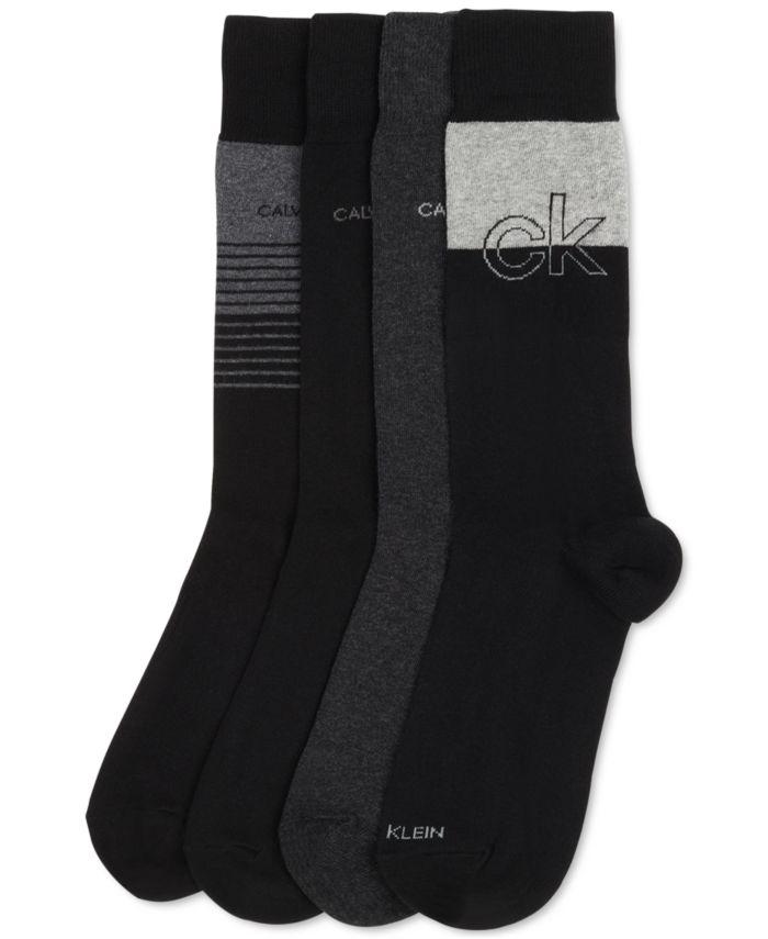 Calvin Klein Men's 4-Pk. Iconic Logo Dress Crew Socks & Reviews - Underwear & Socks - Men - Macy's