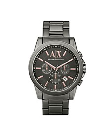 Men's Chronograph Gunmetal Gray Stainless Steel Bracelet Watch 45mm
