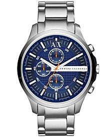 Men's Chronograph Silver Tone Stainless Steel Bracelet Watch 46mm