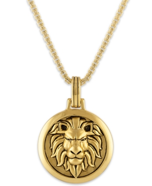 """Lion Amulet 24"""" Pendant Necklace in 14k Gold-Plated Sterling Silver"""