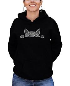 Women's Word Art Peeking Cat Hooded Sweatshirt