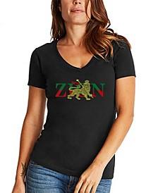 Women's Word Art Zion One Love V-Neck T-Shirt