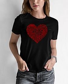Women's Junior's Word Art Country Music Heart T-Shirt