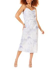 Petite Printed Satin Skirt