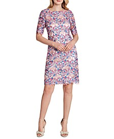 Allover-Embroidered Sheath Dress