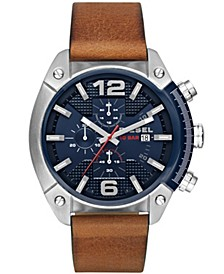 Mens Overflow Chronograph Brown Leather Watch