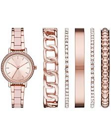 Women's Rose Gold-Tone Blush Bracelet Watch & Bracelet Gift Set 33mm