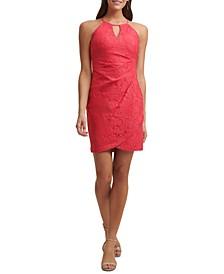 Side-Ruched Lace Sheath Dress