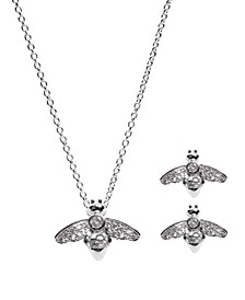 Fine Silver Plated Cubic Zirconia Pave Bee Pendant and Earrings Set
